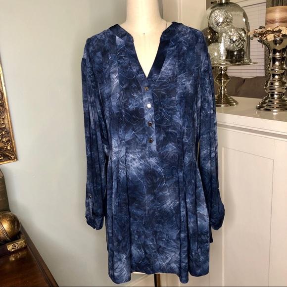2485bc7802c Dress Barn Tops - Dress Barn Blue Swirl Blouse Pleated Plus Size Top